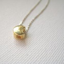 Sterling silver necklace with golden crescent - Love Song to the Moon